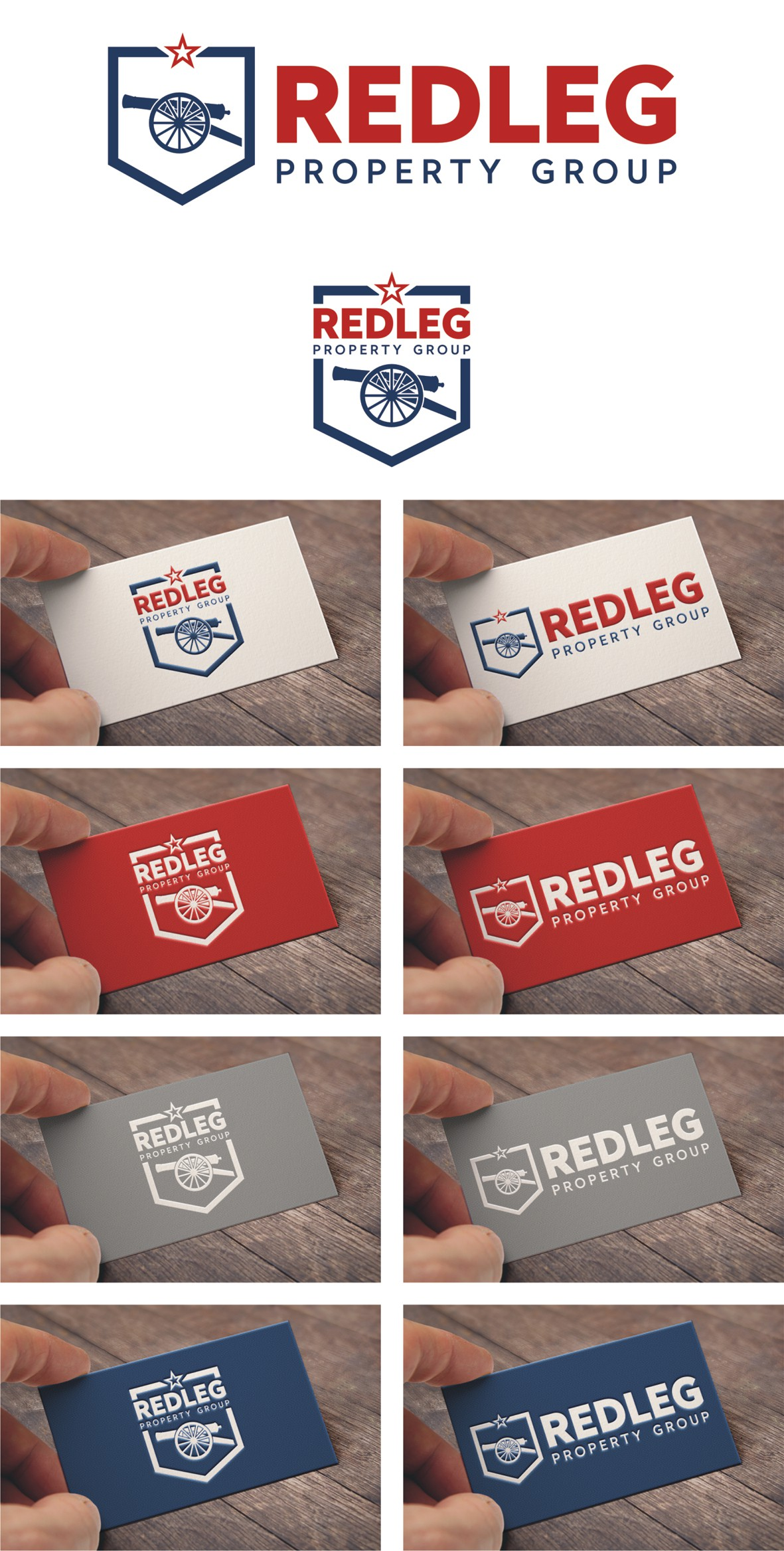 Create a modern artillery themed logo for Redleg Property Group