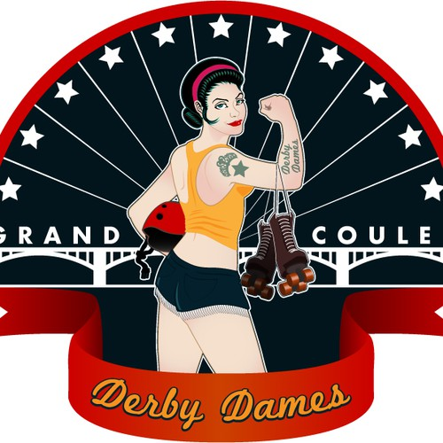 Pin up style roller derby shirt design