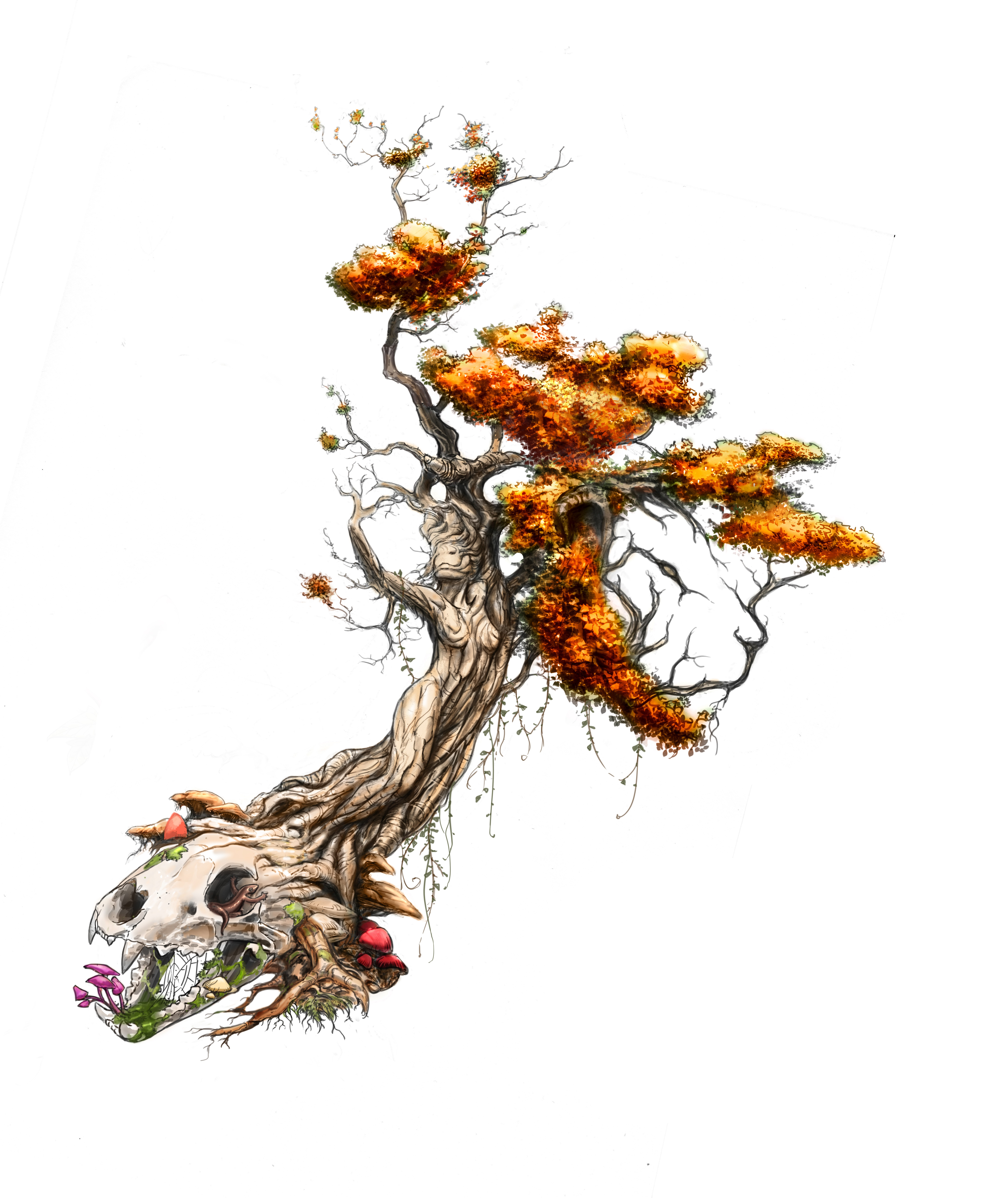 Tree morphing to women, lion head and skull for large hip tattoo