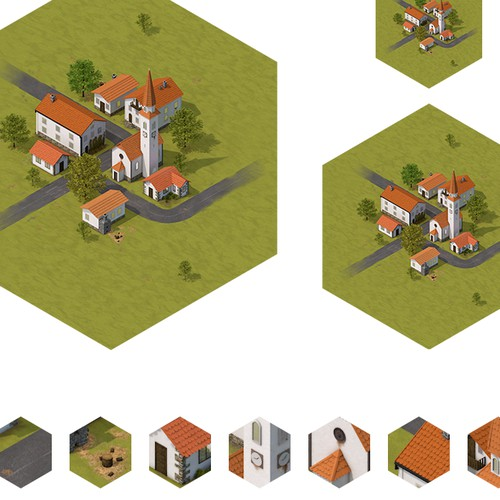 Village & Contruction Site Illustration for Online Game