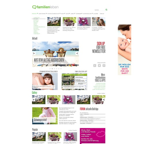 Family magazine style simple website
