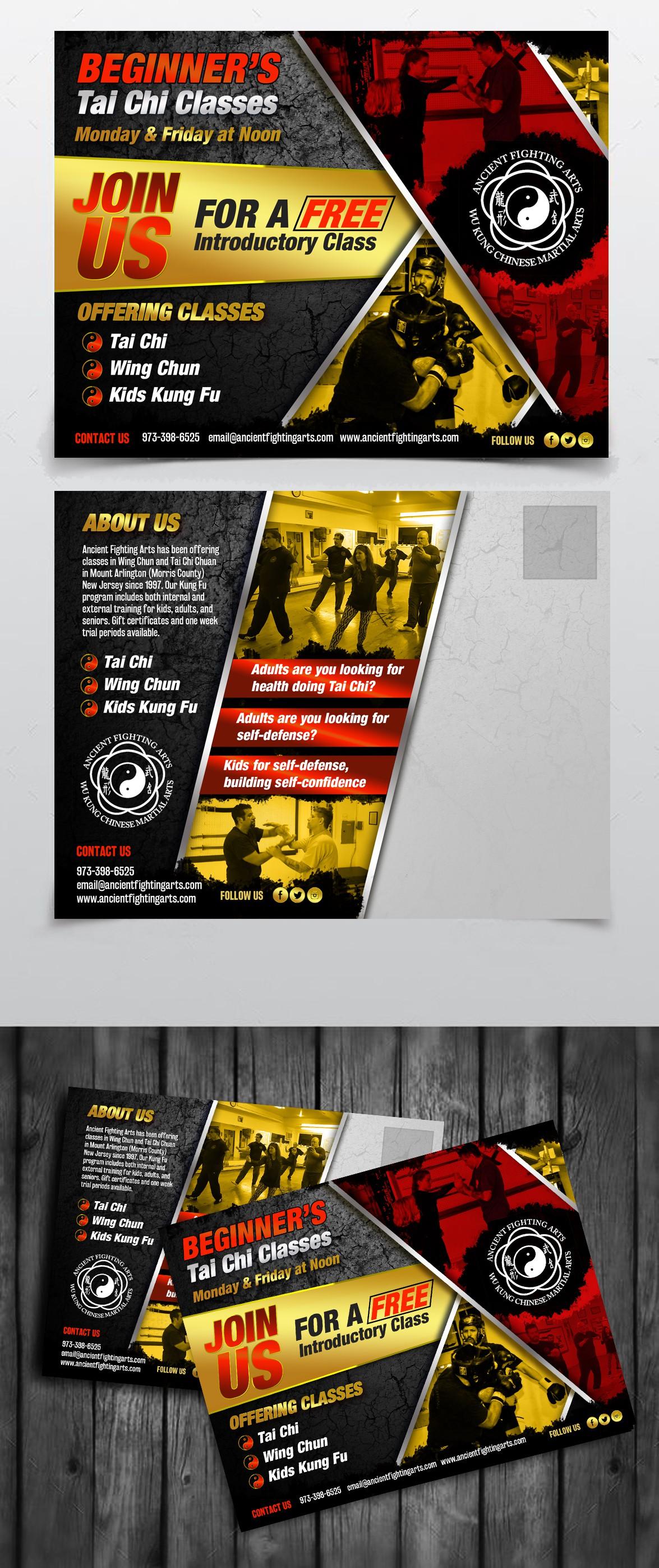 Design a cool looking kung fu marketing postcard