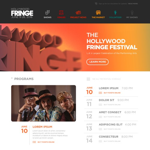 Hollywood Fringe Web Site