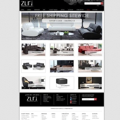 Zuri Furniture needs a new landing page