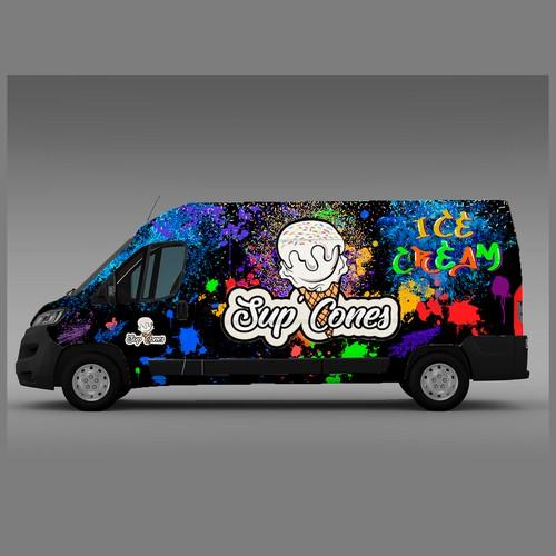 90's style Graffiti Ice Cream Van