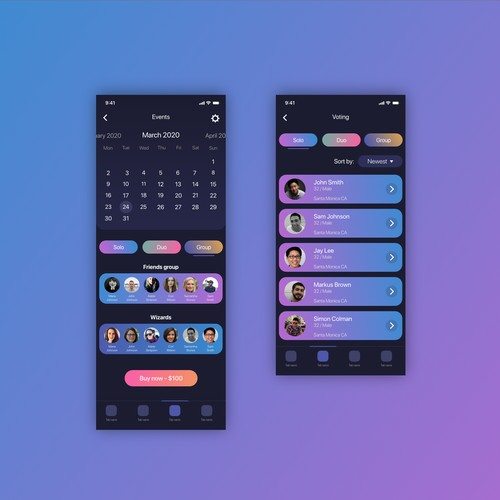 Colofrul app design for a night club