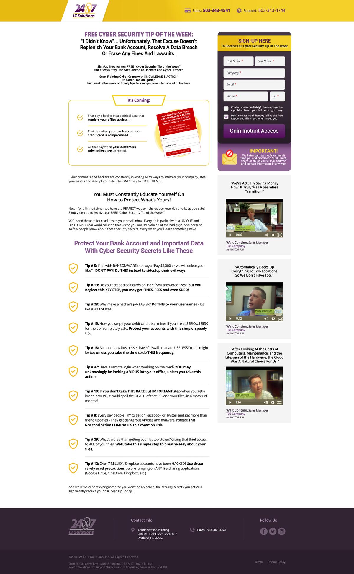 8 Website Landing Pages