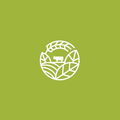 Circular thick line logo for a farm