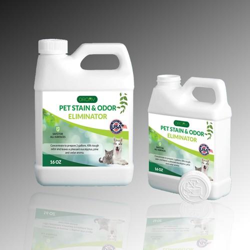 Pet Satin & Odor Eliminator Bottle label design