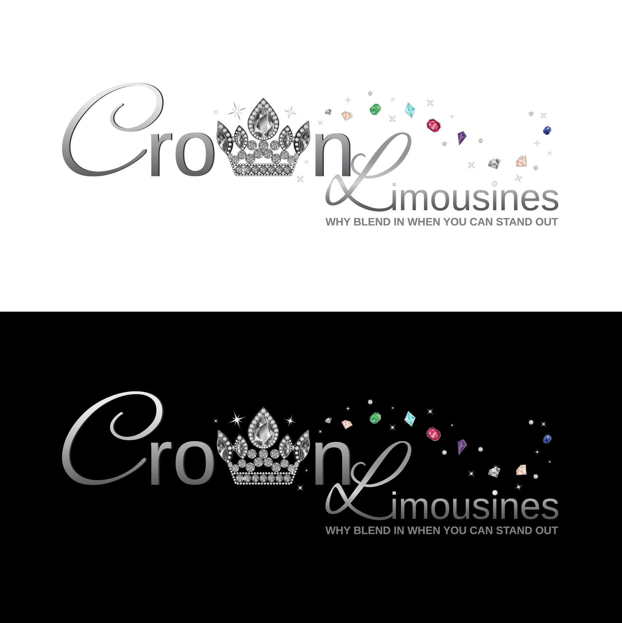 Crown, jewels & gems for a floaty girlie whimsical logo for a Limousine company that has 2Pink limos