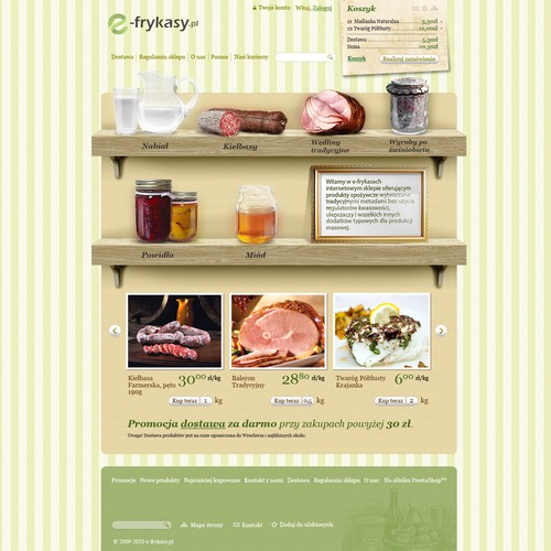 Design of a webstore with fresh and tasty food