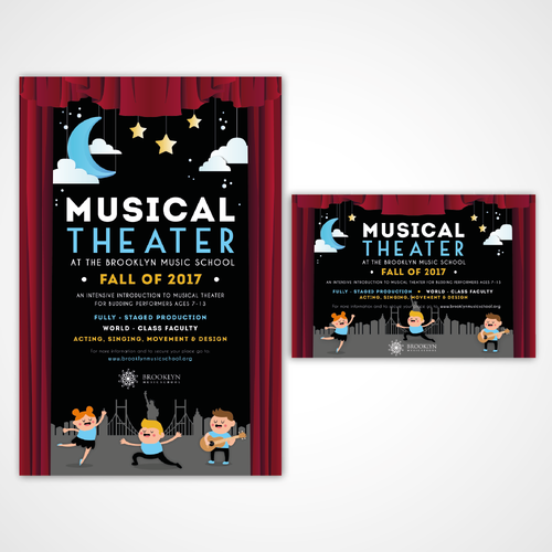 Poster and postcard design for a Music School for kids