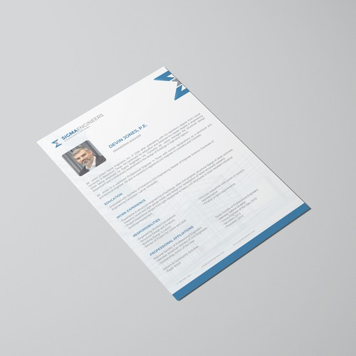 Resume Design for Engineering Employee