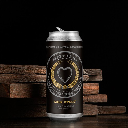Heart of MA Stout 16oz Beer Can Label Design