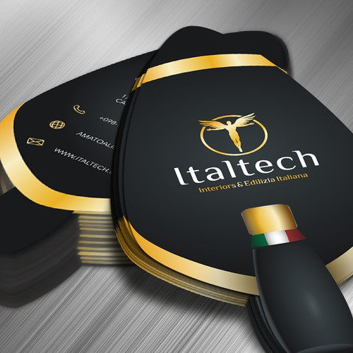 Shaped business card for Italian fit-out company.