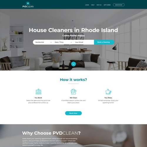 Cleaning service website concept