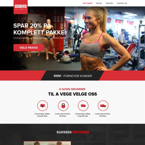 Bold and fun website for a gym