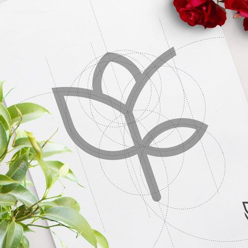 Flower logo with letter F inside