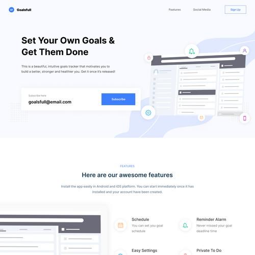 Goalsfull App Landing Page