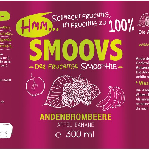Label design for Smoovs Healthy drink