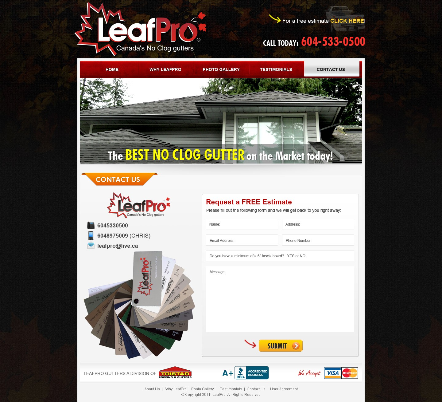 CLOSED - New website design wanted for LeafPro Gutters