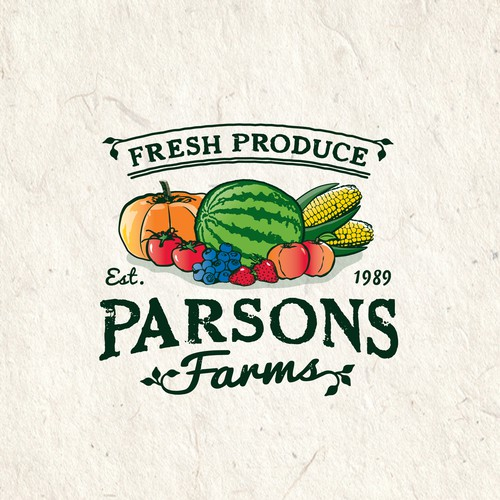 Vintage styled logo for Parsons Farms Produce