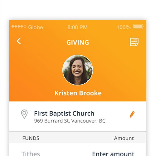Design for payment/tithe giving app