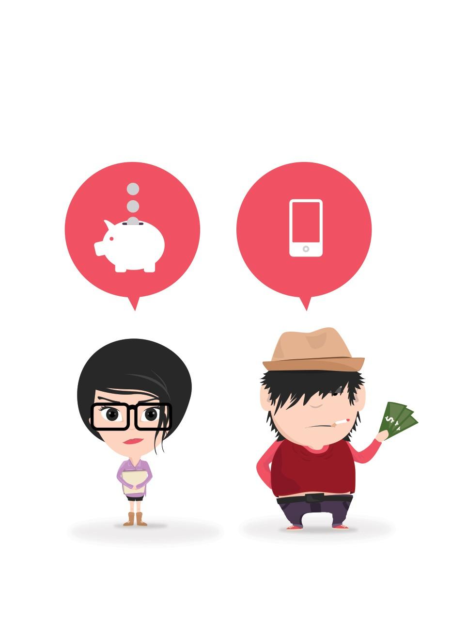 Stylish illustration of Girl & Boy