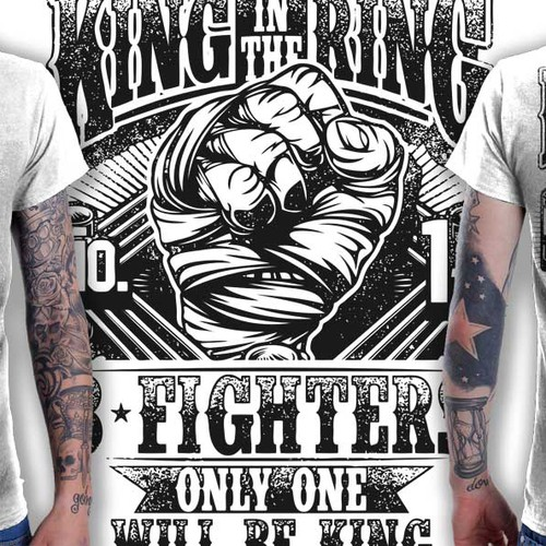 Create a t-shirt for the King in the Ring 8 Man Elimination Fight Event