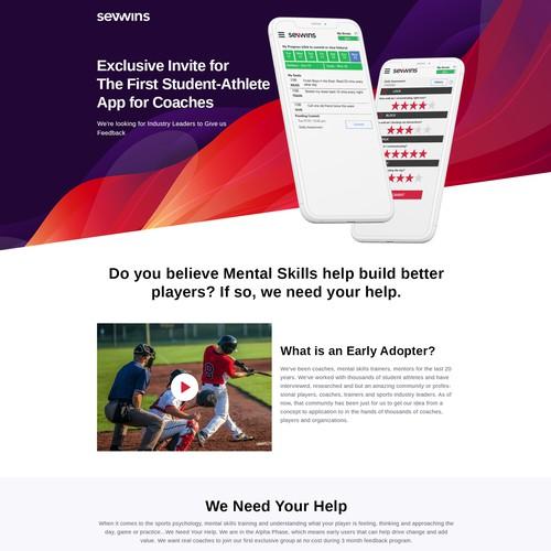 Landing Page Design for Sport App