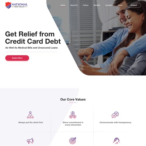Homepage concept for National Debt Relief
