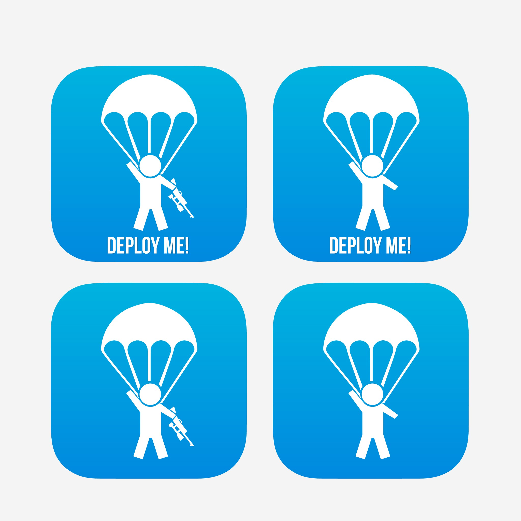 Little man on a parachute with a gun for an app!