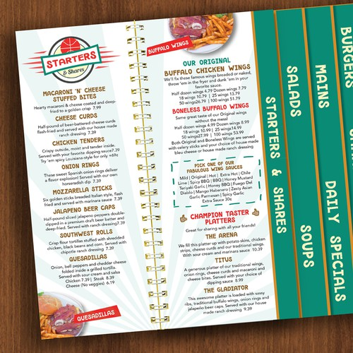 Fun Menu for Sports Bar & Grill