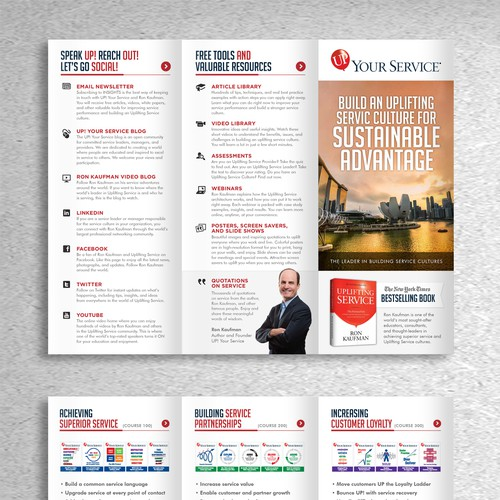 Create an information-rich tri-fold brochure for our training company