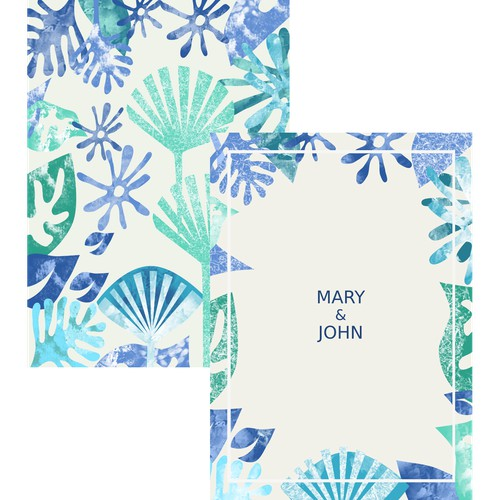 Beach. Holiday card, wedding invitation.