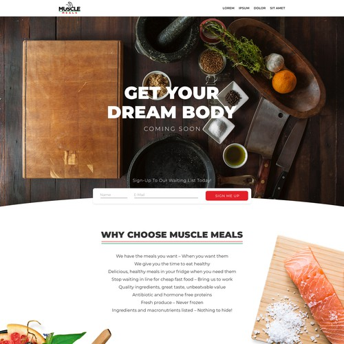 Landing Page Design for Muscle Meals
