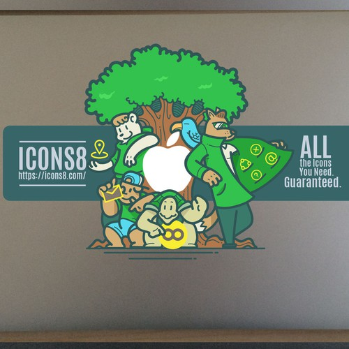 Laptop sticker with cartoon character