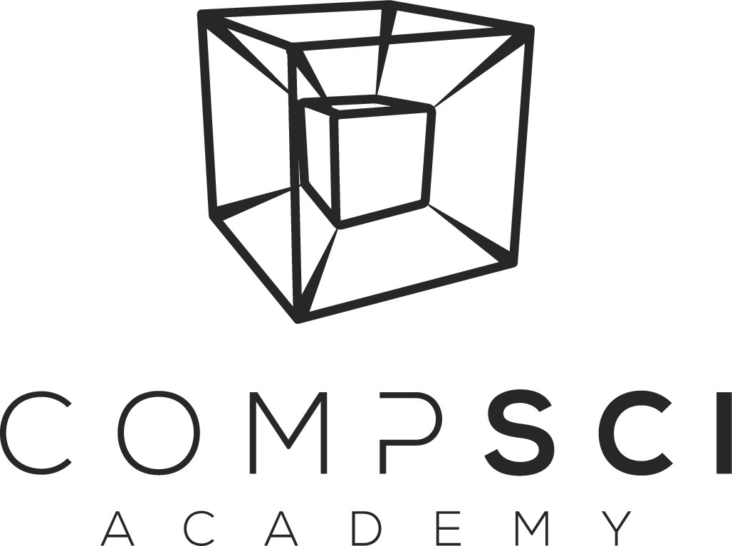 Design a 3D minimalist logo for CompSci Academy, a School for Coders, Developers, and Software Engineers