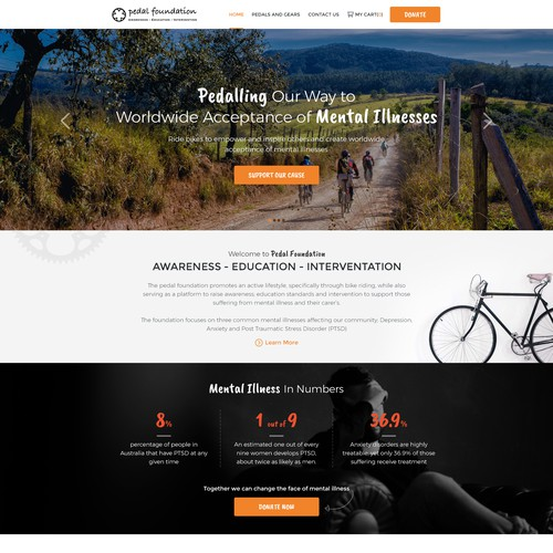 Home Page Design for Pedal Foundation a Non-Profit Organization.