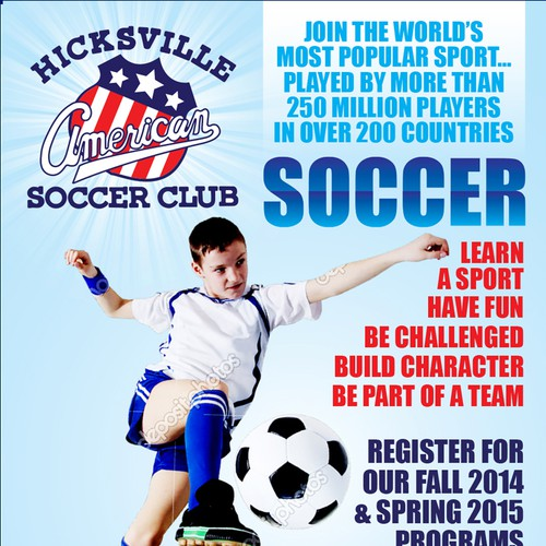 Create a catchy flyer for youth soccer club! Fun and creative!