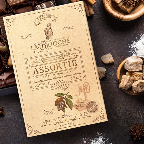 LaBrioche hand-made chocolate packaging design