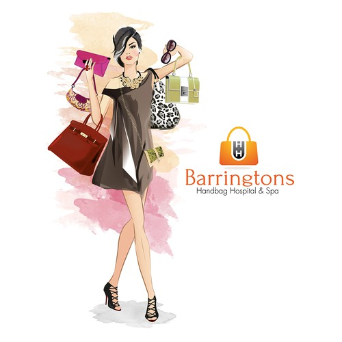 Create a illustration of a fashion orientated female who loves her handbags..