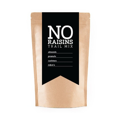 no raisins trail mix logo/label