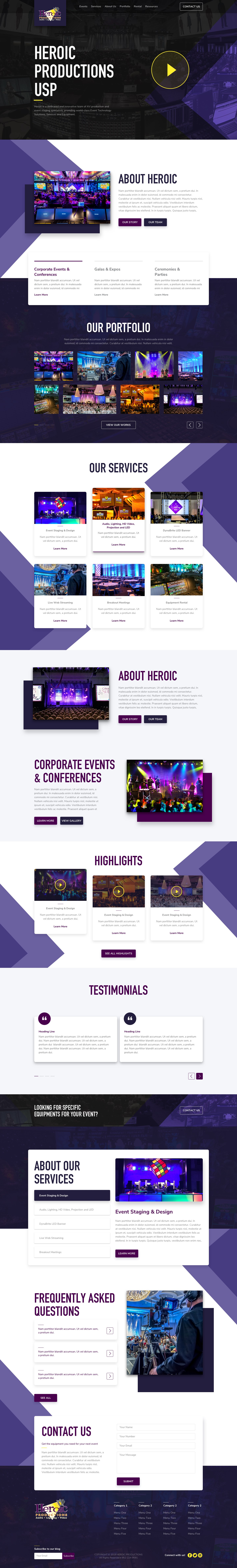 Website Page Mockup for Event Production Company *Agency Level Direction Provided