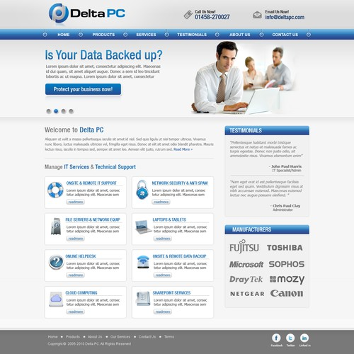 Create the next website design for Delta PC - Website with a bit of !!wow!! required for this dynamic IT support company
