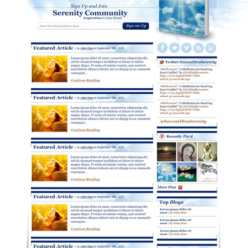New website design wanted for www.successthruserenity.com from scratch. similar to www.thedailylove.com layout and feel