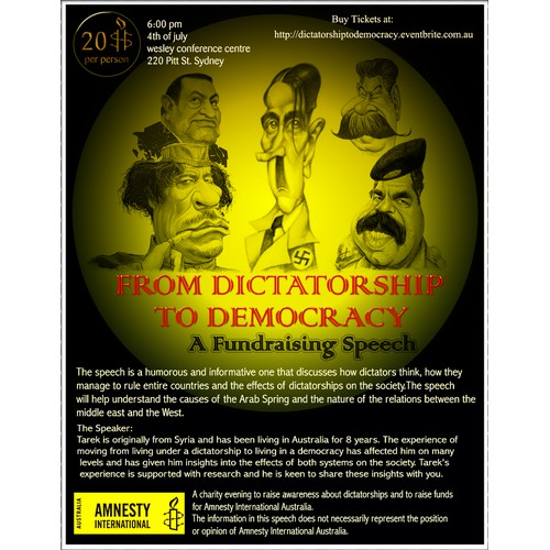 A flyer for a speech titled From Dictatorship to Democracy