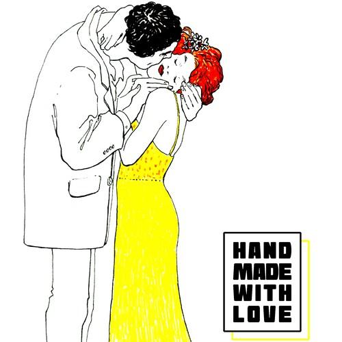 Hand-drawn greeting ard for a fashion house