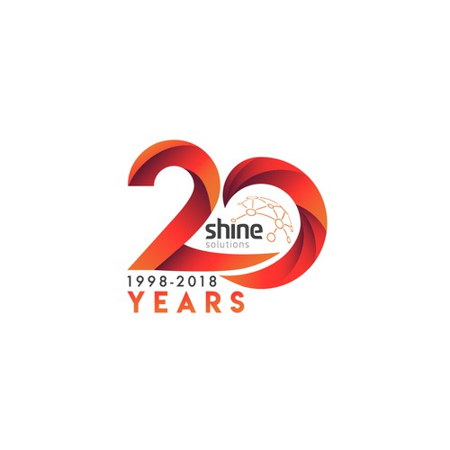 Logo concept for 20 years anniversary shine solutions