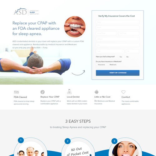 Landing Page design for American Sleep Dentistry